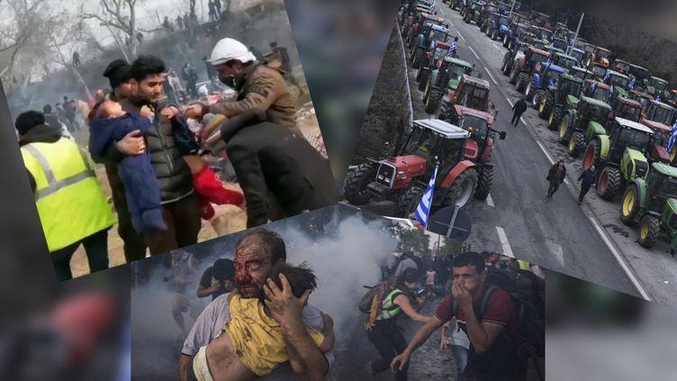 Images diffusées sur les réseaux sociaux censées illustrer la situation à la frontière gréco-turque. (CAPTURES D'ECRAN TWITTER)