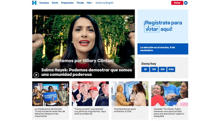 Le site de campagne d'Hillary Clinton est presque entièrement traduit en espagnol (CAPTURE D'ÉCRAN  / SITE DE CAMPAGNE D'HILLARY CLINTON)