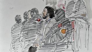 Croquis d'audience duprocès de Salah Abdeslam, le 5 février 2018 à Bruxelles (Belgique). (BENOIT PEYRUCQ / AFP)