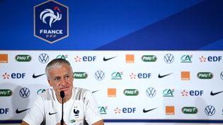 A la veille d'affronter la Bulgarie au Stade de France, Didier Deschamps est apparu moins taquin que lors de ses dernières conférences de presse (FRANCK FIFE / AFP)