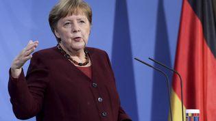La chancelière allemande Angela Merkel, le 19 mars 2021 à Berlin (Allemagne). (MICHAEL SOHN / AP / AFP)