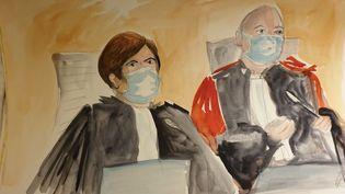 Les avocats généraux Julie Holveck et Jean-Michel Bourlèslors d'une audience au procès des attentats de janvier 2015, à la cour d'assises spéciale de Paris. (ELISABETH DE POURQUERY / FRANCEINFO)
