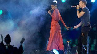Rihanna et Chris Martin de Coldplay au spectacle de clôture des Jeux Paralympiques de Londres  (Matt Dunham/AP/SIPA)