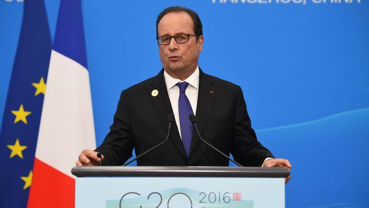 François Hollande lors du sommet du G20 en Chine le 5 septembre 2016 (STEPHANE DE SAKUTIN / AFP)