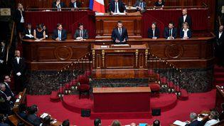 Emmanuel Macron devant le Congrès réuni à Versailles, le 3 juillet 2017 (ERIC FEFERBERG / AFP)