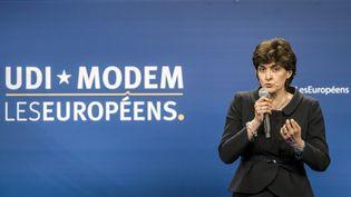 Sylvie Goulard lors d'unmeeting national de l'UDI et du MoDem dans le cadre de la campagne pour l'élection des députés européens le 30 avril 2014 (MAXIME JEGAT / MAXPPP)