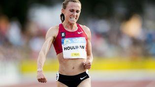 """Dans cette photographie d'archives prise le 21 juillet 2018, l'athlète américaine Shelby Houlihan célèbre après avoir remporté le 5000 m femmes lors de la 39e édition de la réunion d'athlétisme """"Nacht van de Atletiek"""" (EA Classic Meeting) à Heusden-Zolder. (JASPER JACOBS / AFP)"""
