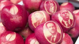 En vue de la COP21, des pommes ont notamment été marquées à l'effigie du président français,François Hollande, et du ministre des Affaires étrangères, Laurent Fabius, mercredi 4 novembre 2015. (JEAN-CHRISTOPHE VERHAEGEN / AFP)