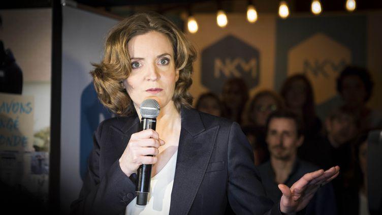Nathalie Kosciusko-Morizet s'adresse à ses partisans à la primaire dans un bar parisien le 8 mars 2016 (GEOFFROY VAN DER HASSELT / AFP)