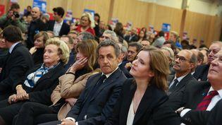 L'ex-président Nicolas Sarkozy, et NathalieKosciusko-Morizet, son ancienne porte-parole lors de la campagne présidentielle de 2012 , le 7 novembre 2014, lors d'un meeting à Paris. (  MAXPPP)
