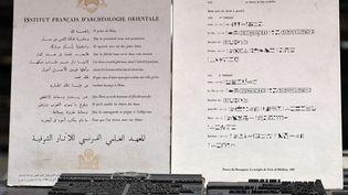 Texte en hiéroglyphes, en français, arabe et égyptien imprimé à l'Institut français d'archéologie orientale du Caire, le 10 décembre 2020. (AHMAD HASSAN / AFP)