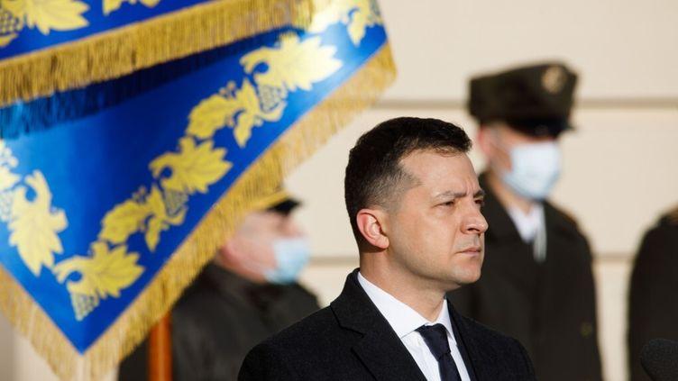 Le président ukrainien Volodymyr Zelensky, en décembre 2020. (ANADOLU AGENCY VIA AFP)
