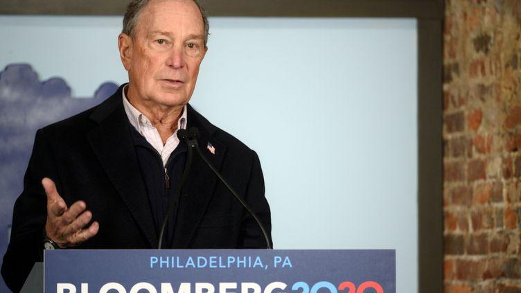 L'ancien maire de New York (Etats-Unis), Michael Bloomberg, lors d'un discours de campagne à Philadelphie, le 21 décembre 2019. (BASTIAAN SLABBERS / NURPHOTO / AFP)