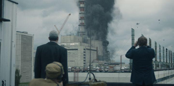 L'incendie dans la centrale de Tchernobyl tel qu'il est montré dans la série. (HBO)
