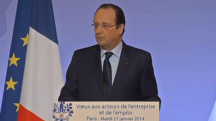 François Hollande adresse ses vœux aux acteurs de l'entreprise et de l'emploi, le 21 janvier 2014, à l'Elysée, à Paris. (  FRANCETV INFO )