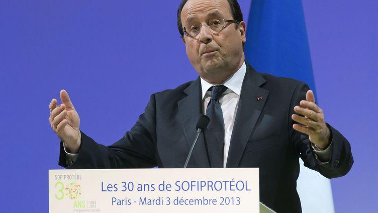François Hollande, lors d'un discours le 3 décembre 2013, à Paris. (MICHEL EULER / AFP)