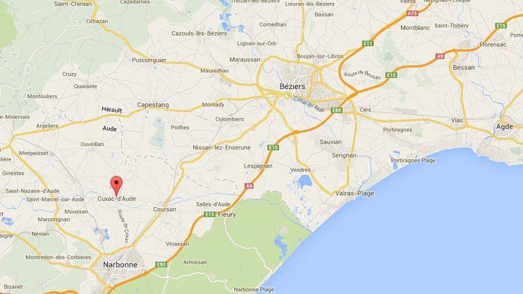 Le drame s'est produit àCuxac-d'Aude (Aude), le 29 mai 2014. ( GOOGLE MAPS / FRANCETV INFO )