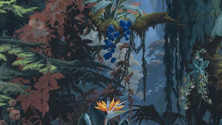 L'Eden, papier peint panoramique (détail), Joseph Fuchs, Manufacture Desfossé, 1861  (Les Arts Décoratifs, Paris / photo Jean Tholance)