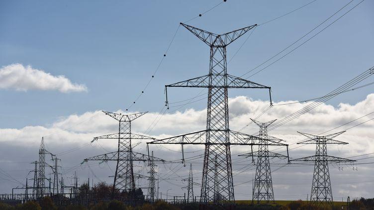Des lignes électriques en pleine campagne. (MAXPPP)