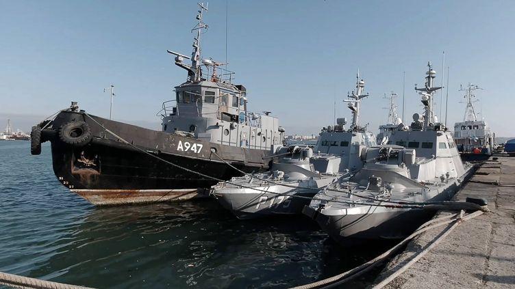 Des bateaux de la marine ukrainienne, à Kertch, en Crimée, le 18 novembre 2019. (photo d'illustration) (FSB / TASS /SIPA USA /SIPA)