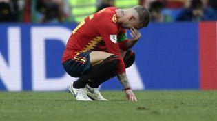 Le défenseur Sergio Ramos ne verra pas les quarts de finale de la Coupe du monde en Russie. (JUAN MABROMATA / AFP)