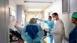 Dans l'aile Covid-19 de l'hôpital Saint Camille à Bry-Sur-Marne (Val-de-Marne) le 21 avril 2021. (ALINE MORCILLO / HANS LUCAS / AFP)