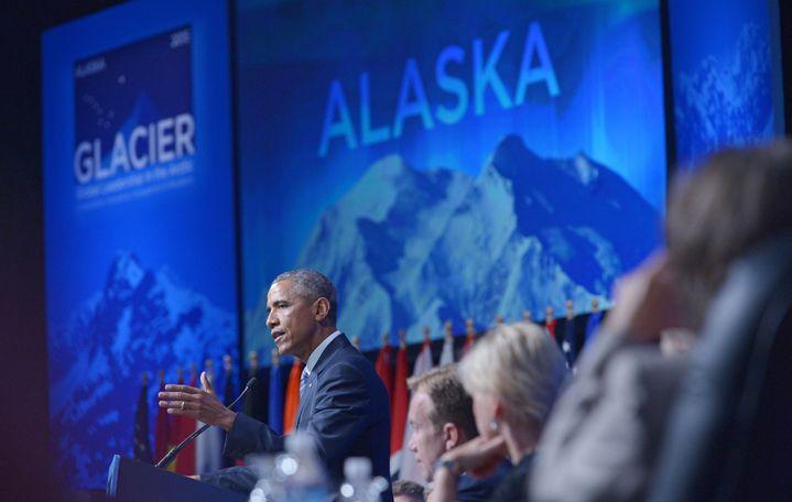 Discours du président Obama à Anchorage en Alaska sur la menace du réchauffement climatique (AFp/ mandel Ngan )