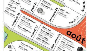 Le calendrier des Jeux olympiques 2021 réalisé par la rédaction de franceinfo. (JESSICA KOMGUEN / FRANCEINFO)