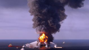 Une photo de l'incendie qui a détruit la plateforme pétrolière Deep Horizon, le 21 avril 2010, dans le golfe du Mexique. (US COAST GUARD / AFP PHOTO)