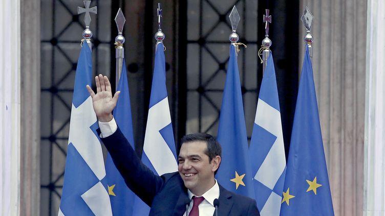 Le Premier ministre grec, Alexis Tsipras, à Athènes le 22 juin 2018, après l'accord historique trouvé avec les ministres de l'euro groupe sur l'échelonnement de la dette grecque et le retour du pays sur les marchés financiers. (MAXPPP)