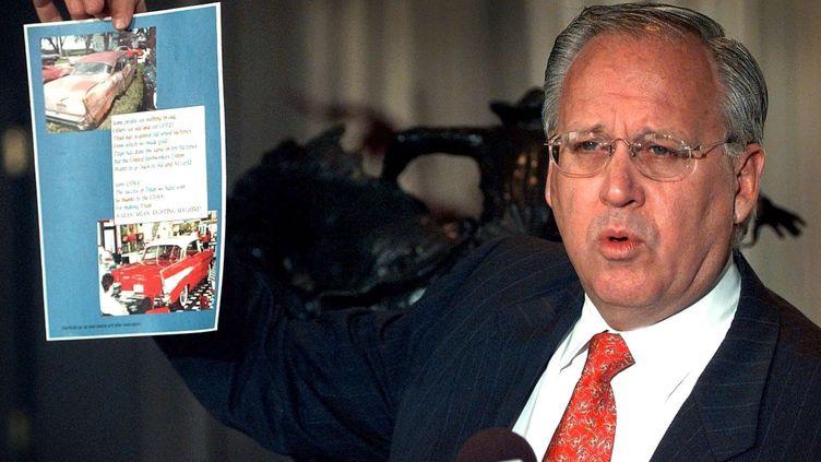 Maurice Taylor, le PDG du fabricant américain de pneus Titan International, le 16 mars 2009 à Des Moines, dans l'Iowa (Etats-Unis). (CHARLIE NEIBERGALL / AP / SIPA)