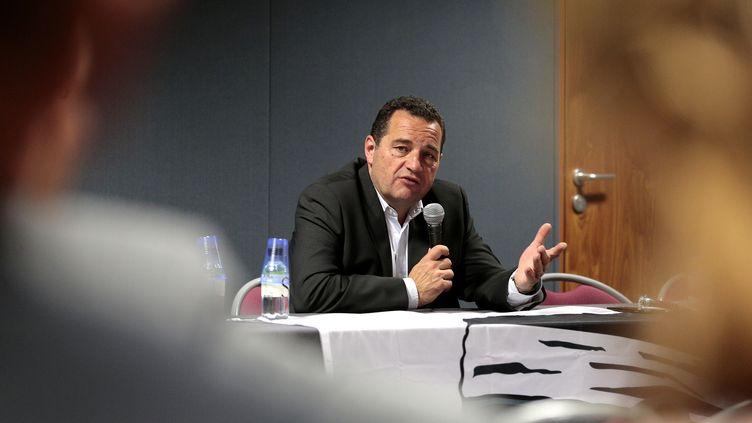 Jean-Frédéric Poisson, candidat à la primaire à droite, lors d'un meeting à Ajaccio (Corse), le 21 octobre 2016. (PASCAL POCHARD-CASABIANCA / AFP)