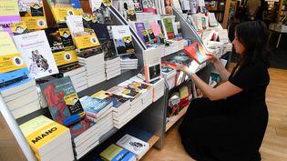 une vendeuse répartit des livres dans une librairie de Brest, dans l'Ouest de la France, le 23 août 2019 (FRED TANNEAU / AFP)