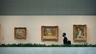 """Un visiteur du Metropolitan Museum de New York pendant une """"avant-première"""". Le musée a officiellement rouvert samedi 29 août 2020. (ANTHONY BEHAR/SIPA USA/SIPA / SIPA USA)"""