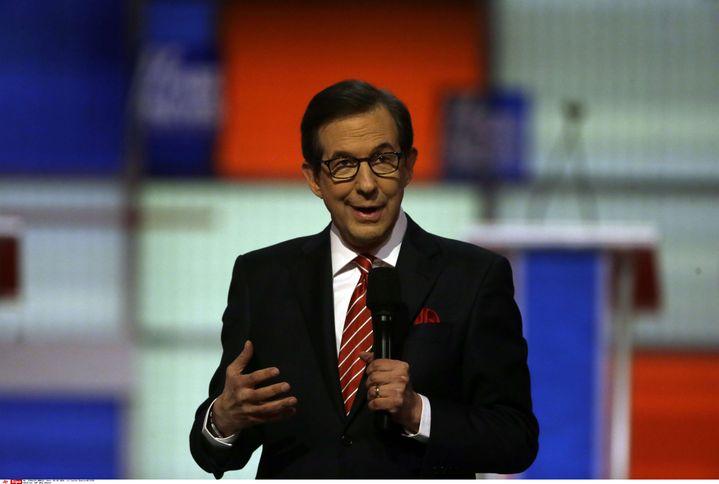 Le journaliste politique Chris Wallace lors d'un débat pour la primaire du parti républicain, à Detroit (Michigan, Etats-Unis), le 3 mars 2016. (CARLOS OSORIO / AP / SIPA)