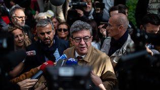 Le leader de la France insoumise, Jean-Luc Mélenchon, à l'issue d'une audience au tribunal de Bobigny (Seine-Saint-Denis), le 20 septembre 2019. (MARTIN BUREAU / AFP)
