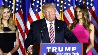 Donald Trump, candidat à la Maison Blanche, à New York (Etats-Unis), lors d'un discours à l'issue des primaires républicaines du 7 juin 2016. (KENA BETANCUR / AFP)