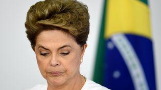 Dilma Rousseff lors d'un sommet de l'Organisation des Etats américains à Brasilia (Brésil), le 15 avril 2016. (EVARISTO SA / AFP)