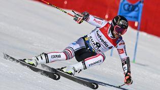 Mathieu Faivre lors des mondiaux de Ski, à Cortina d'Ampezzo (Italie), vendredi 19 février 2021. (FABRICE COFFRINI / AFP)