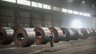 De l'acier est stocké à Portage (Etats-Unis), le 15 mars 2018. (SCOTT OLSON / GETTY IMAGES NORTH AMERICA / AFP)