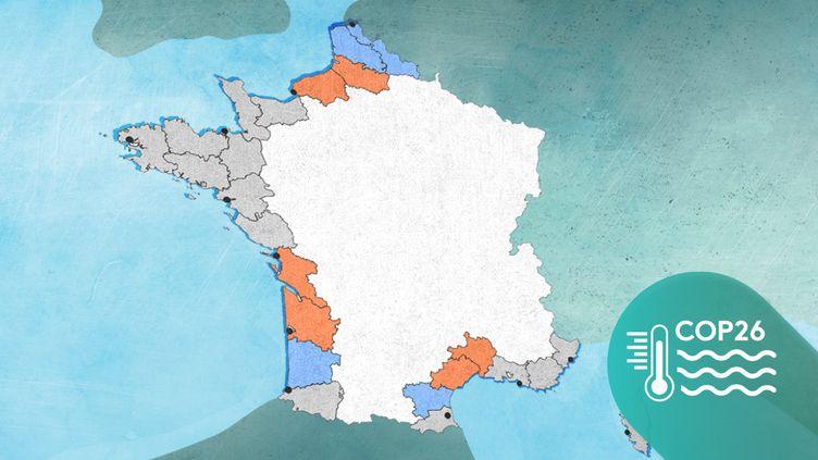 Carte de l'évolution du trait de côte en France. (FRANCEINFO)