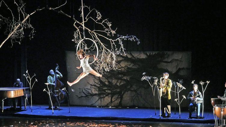 Toile de Charles Belle en arrière plan d'une acrobate du Cirque Plume  (PHOTOPQR/LE PROGRES/MAXPPP)