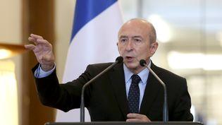 Gérard Collomb, le ministre de l'Intérieur, à Tirana (Albanie), le 15 décembre 2017. (GENT SHKULLAKU / AFP)