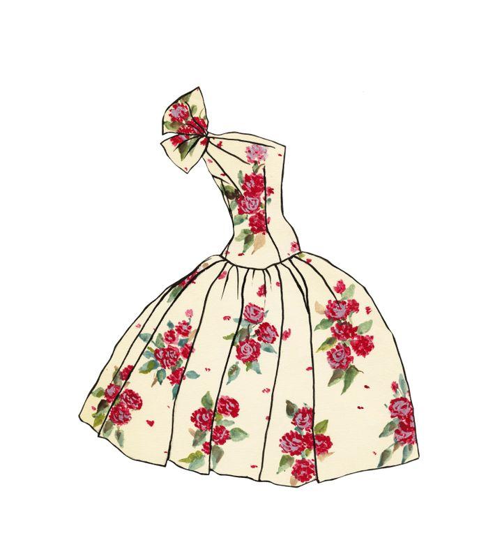 """Robe de jour La Manola pour la paper doll Ivy comportant au verso l'annotation """"satin de Ducharme"""", 1953-1955 (Fondation Pierre Bergé - Yves Saint Laurent)"""