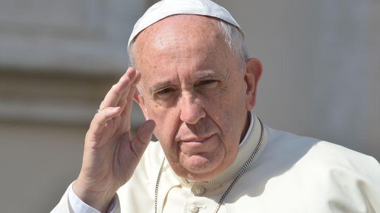 Le pape François salue la foule, le 17 juin 2015, au Vatican. (ALBERTO PIZZOLI / AFP)