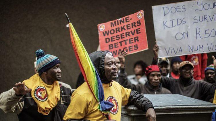 Manifestation de mineurs en Afrique du Sud en 2015. (GIANLUIGI GUERCIA / AFP)