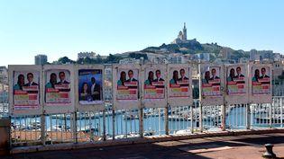 Des affiches électorales pour les élections régionales et départemantales à Marseille (Bouches-du-Rhône), le 11 juin 2021. (MAXPPP)