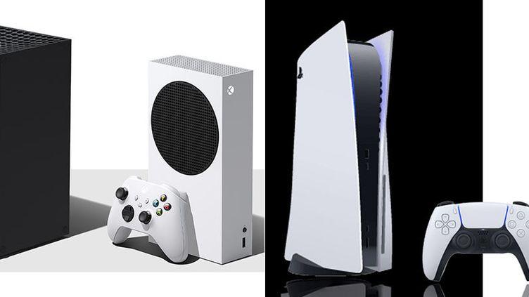 Les quatre nouvelles consoles de cinquième génération. de gauche à droite, la Xbox Series X, la Xbox Series S, la Playstation 5 et la Playstation Digital Edition. (MICROSOFT / SONY)