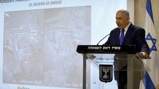 Le Premier ministre israélien,Benyamin Nétanyahou,fait une déclaration aux médias sur le dossier du nucléaire iranien au ministère des Affaires étrangères à Jérusalem, le 9 septembre 2019. (MENAHEM KAHANA / AFP)