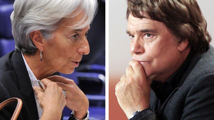 L'ancienne ministre de l'Economie Christine Lagardeet l'homme d'affaires Bernard Tapie sont deux protagonistes de l'affaire. (GOBET-DEMARTHON / AFP)